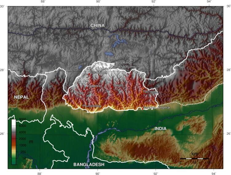 Топографическая карта Бутана