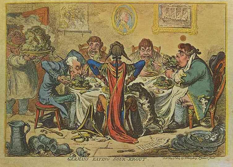 Джеймс Гилрей, «Немцы, питающиеся кислой капустой», 1803 г.