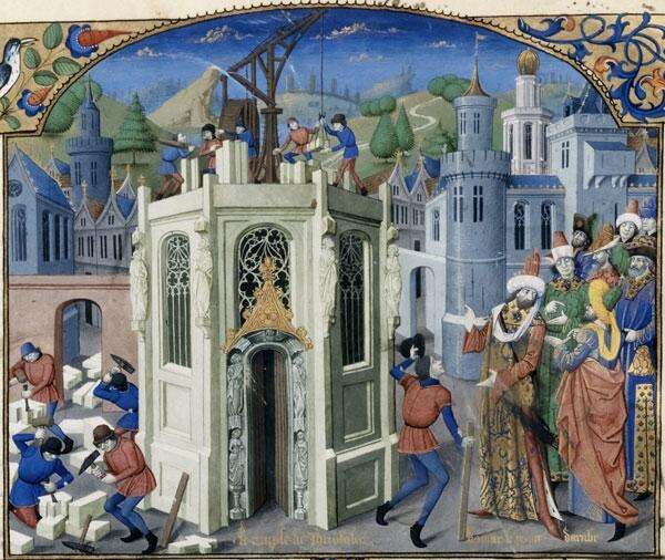 Восстановление Иерусалимского храма. Бургундская миниатюра, около 1460 г.