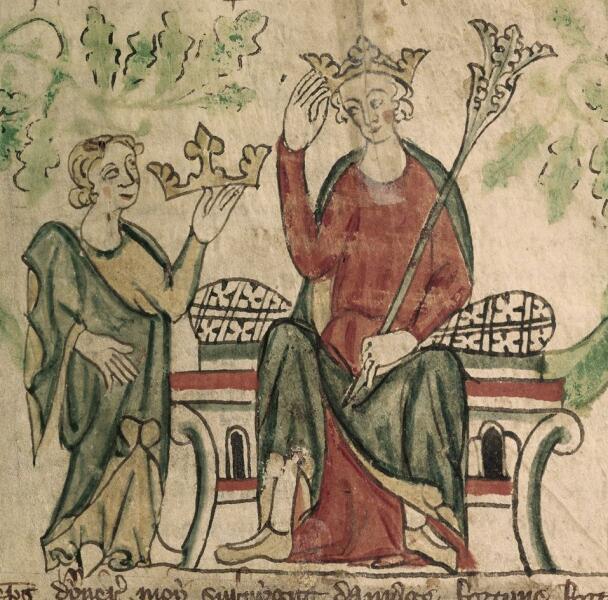 Эдуард II принимает английскую корону. Миниатюра из «Хроник Англии» (1307—1327 годы). Британская библиотека