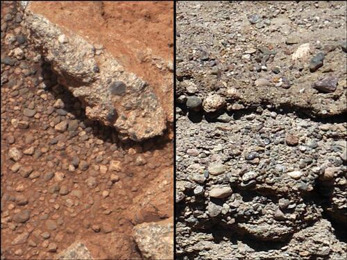 Марсианский и земной (справа) гравий