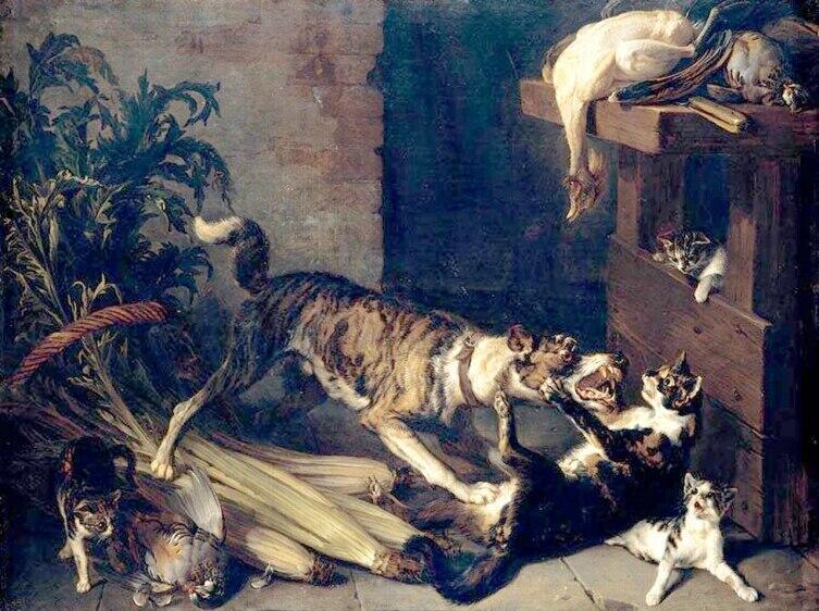 Александр-Франсуа Депорт, «Собака, дерущаяся с кошкой на кухне», 1710 г.
