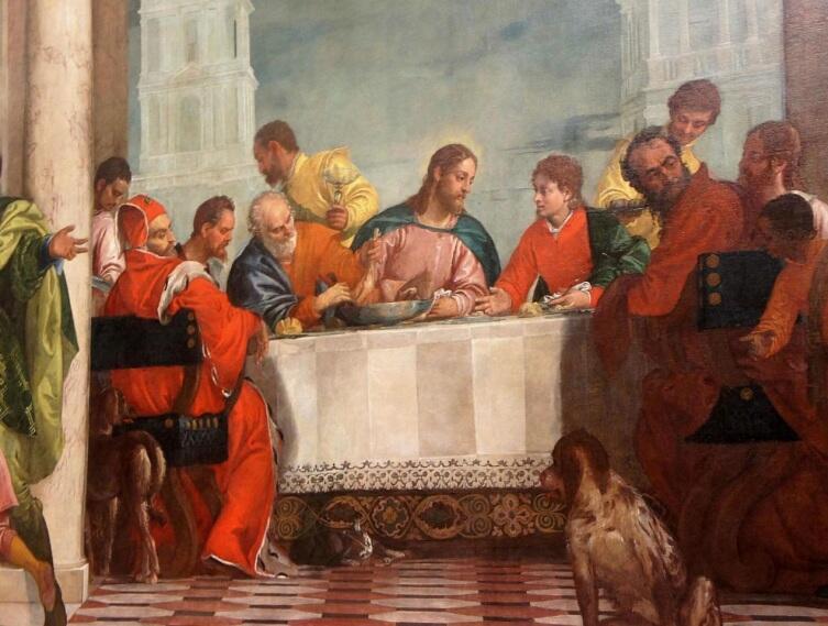 Паоло Веронезе, «Пир в доме Левия» (фрагмент), 1573 г.