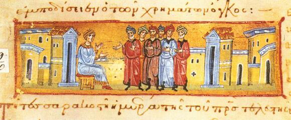 Изображение св. Иоасафа в греческом манускрипте (XII—XIII века)