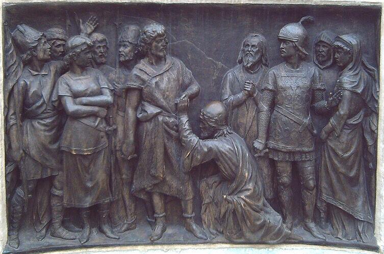 Испанский драматург Кальдерон повторил сюжет в пьесе «Жизнь есть сон». Барельеф с памятника Кальдерону, скульптор Ж. Фигерас Вила, Мадрид, 1880 г.