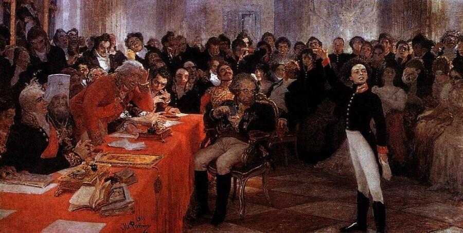 И. Е. Репин, «А. С. Пушкин на акте в Лицее 8 января 1815 года читает свою поэму «Воспоминания в Царском селе»», 1911 г.