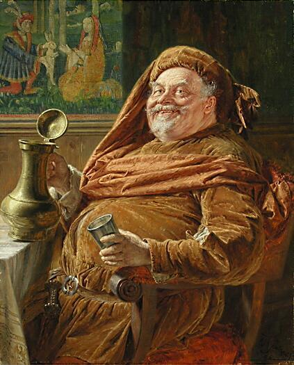 Эдуард фон Грютцнер, «Фальстаф с большим винным кувшином и чашкой», 1896 г.