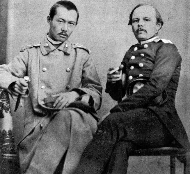 Ф. Достоевский и Ч. Валиханов. Фотография снята в Семипалатинске в 1858 г.