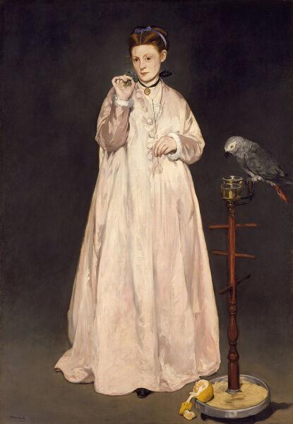 Эдуар Мане, «Женщина с попугаем», 1866 г. (Художница Викторина Мёран - любимая модель Эдуарда Мане)