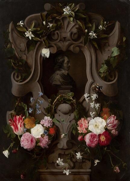 Ян Коссьерс, Даниэль Сегерс, «Бюст Константина Гюйгенса в гирлянде цветов», 1644 г.