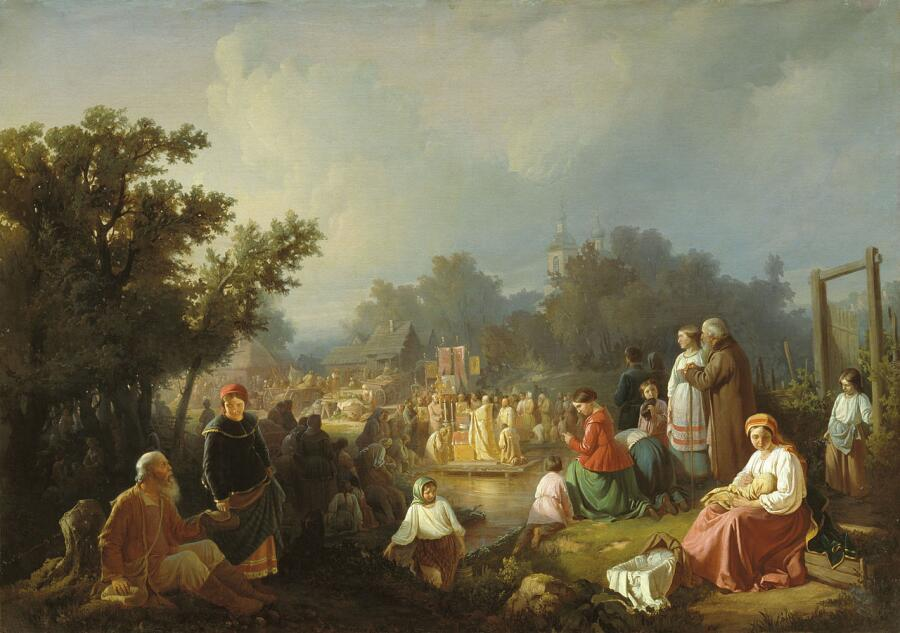 И. П. Трутнев, «Крестный ход на водоосвящение в деревне», 1858 г.