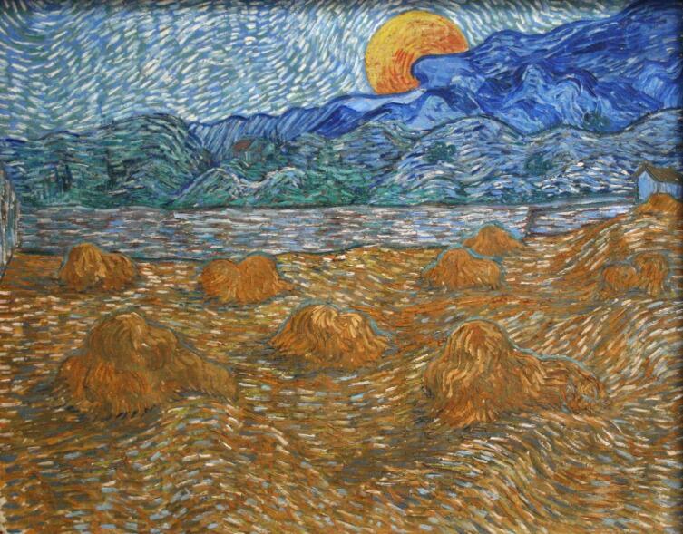 Винсент Ван Гог, «Вечерний пейзаж с восходящей луной», 1889 г.