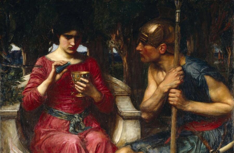Джон Уильям Уотерхаус, «Ясон и Медея» (фрагмент), 1907 г.