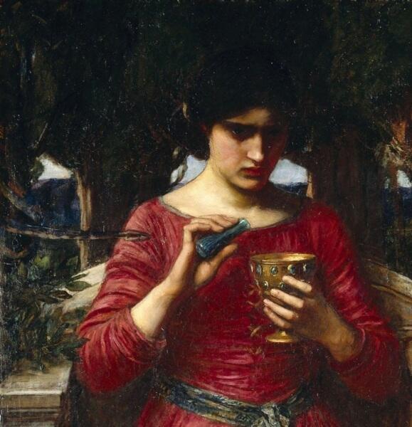 Джон Уильям Уотерхаус, «Ясон и Медея» (фрагмент «Змея»), 1907 г.