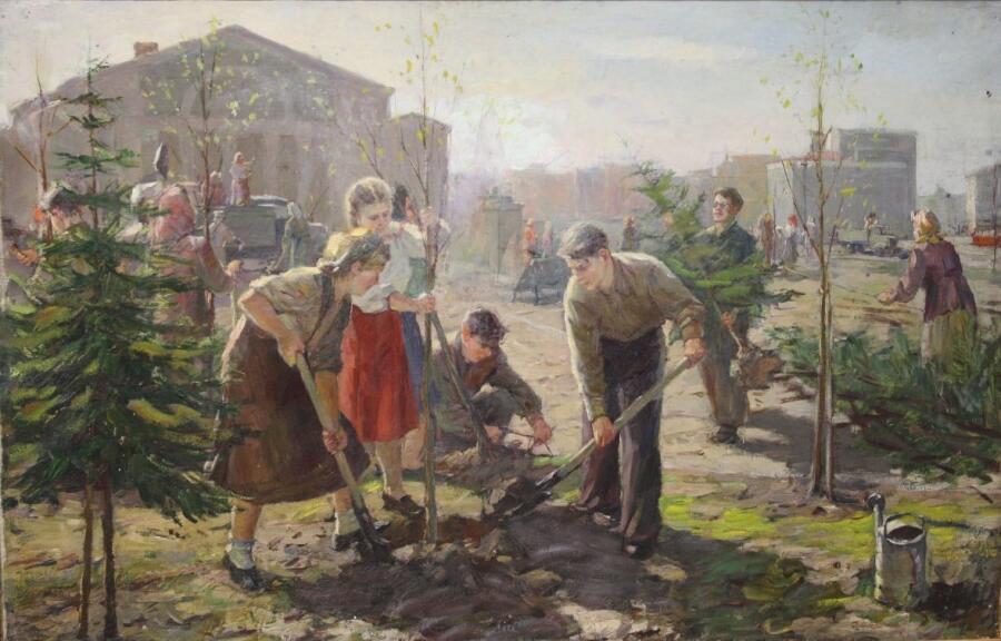 В. Л. Зуева , «На субботнике», 1950-е гг.