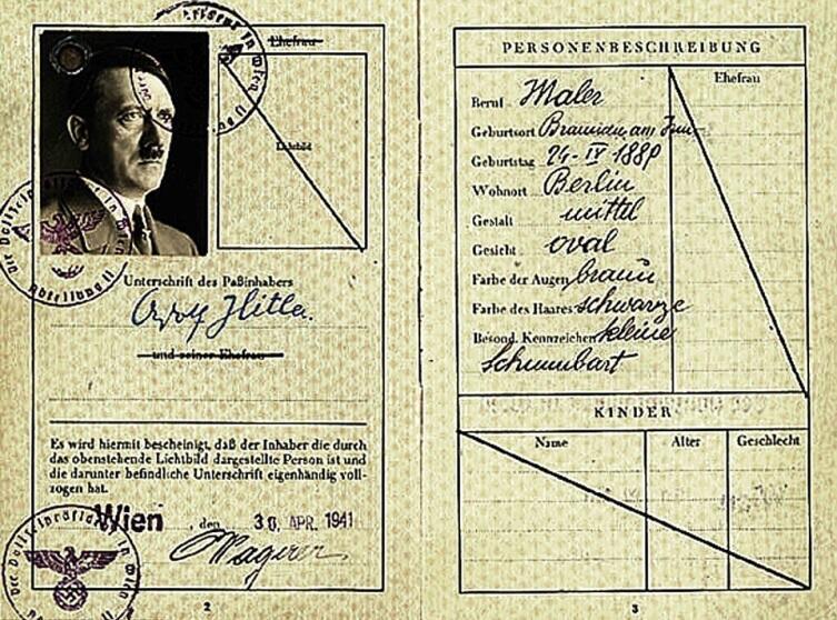 Какой паспорт на имя Адольфа Гитлера хранится в Британском Национальном архиве?