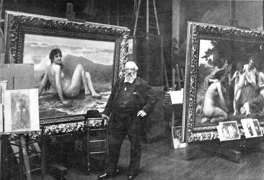 Вильям-Адольф Бугро в мастерской. На заднем плане видны «Волна» и «Восхищение», 1904 г