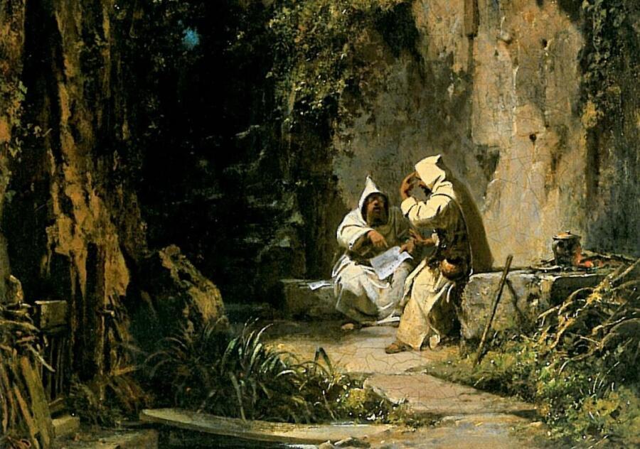 Карл Шпицвег, «Спорящие монахи» (фрагмент), 1860 г.