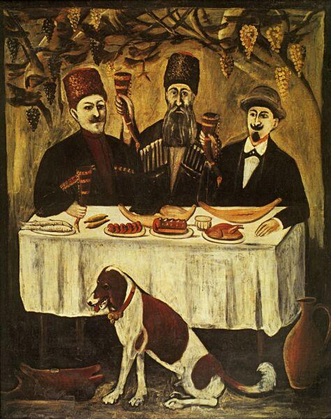 Нико Пиросмани (Пиросманашвили), «Кутеж в виноградной беседке», начало ХХ века