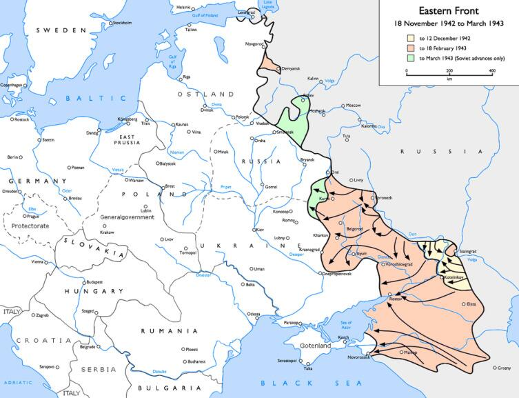 Динамика советско-германского фронта в конце 1942— начале 1943 года