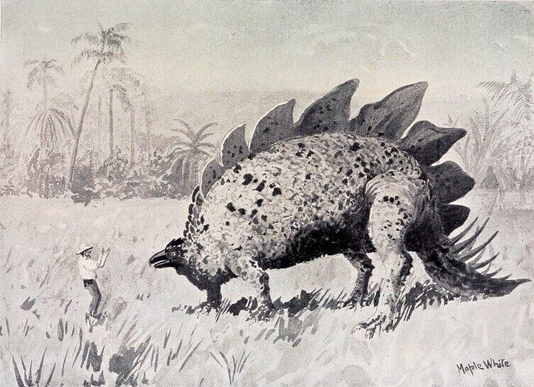 Иллюстрация к книге «Затерянный мир». Человек и стегозавр