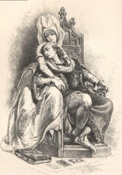 Карл VI и Одинетта. Гравюра из «Истории Франции» Франсуа Гизо, Франция, 1875 г.