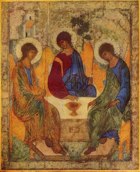 Троица (икона Андрея Рублёва, ок. 1422—1427 гг, Москва, Третьяковская галерея)