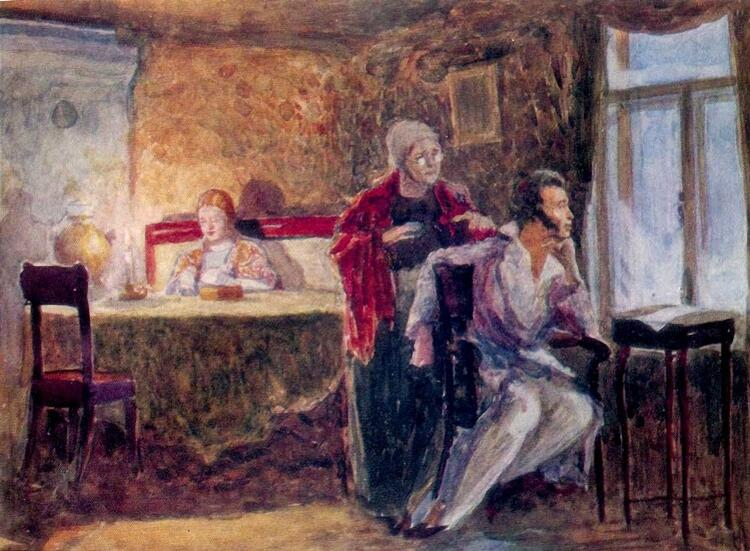 Ю. М. Непринцев, «Пушкин в Михайловском (эскиз)», 1938 г.