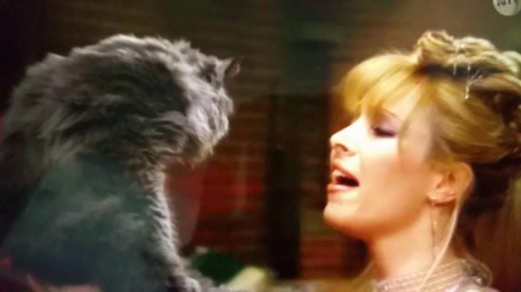 Фиби с котом. Кадр из т/с «Друзья», 1994-2004 г.
