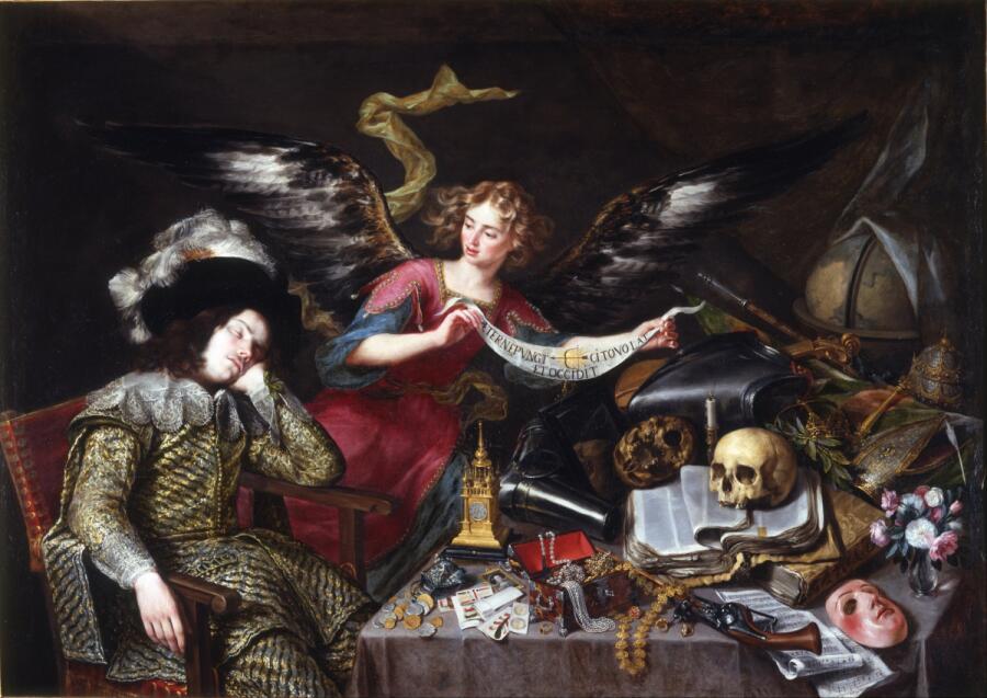 Антонио де Переда, «Мечта рыцаря», 1650 г., 152×217 см, королевская академия изящных искусств Сан-Фернандо, Мадрид, Испания