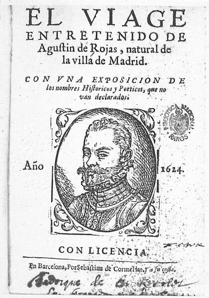Портрет Агустина де Рохаса Вилландрандо на обложке его произведения «Занимательное путешествие». Барселона, 1624 г.