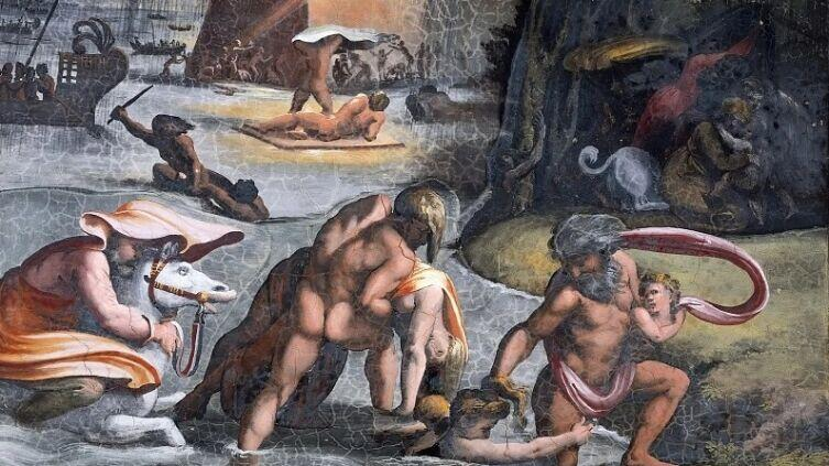Рафаэль Санти, «Всемирный потоп. Фреска лоджии Рафаэля дворца понтифика в Ватикане», 1519 г.