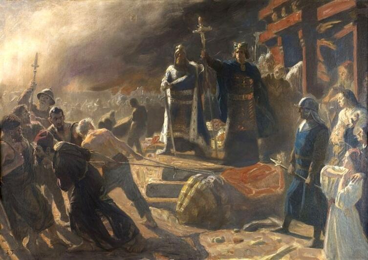 Лауриц Туксен, «Епископ Абсалон уничтожает идол бога Святовита в Арконе в 1168 году»