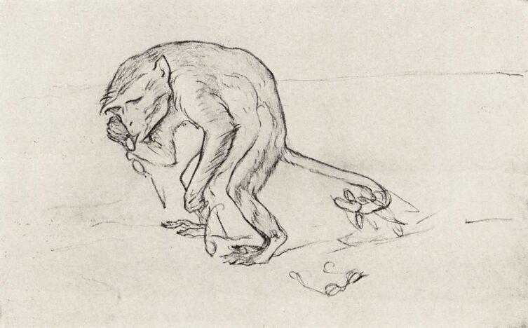 В. А. Серов, «Мартышка и очки», 1911 г.