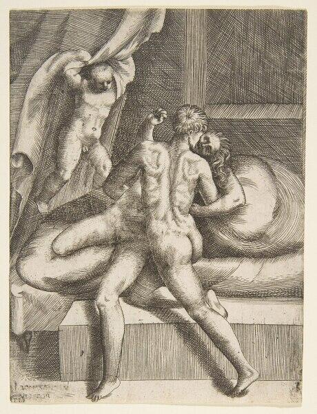 Джулио Бонасоне, Аполлон и Левкотоя, 1531,14×11 см, Метрополитенмузей, Нью-Йорк, США