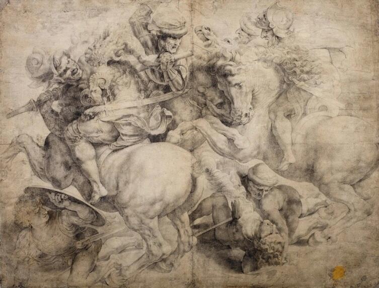 Неизвестный художник, «Сражение за штандарт (Битва при Ангиари), по мотивам Леонардо», XVI век