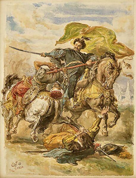Ян Матейко, «Собески добывает хоругвь», 1880 г.