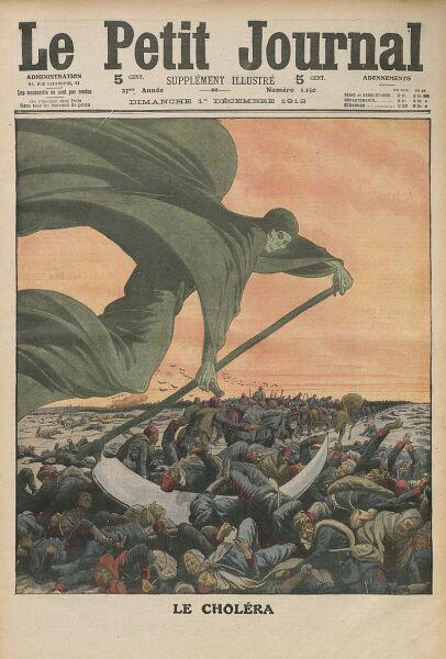 Образ смерти, выкашивающей смертельно больных холерой. Обложка журнала начала XX века