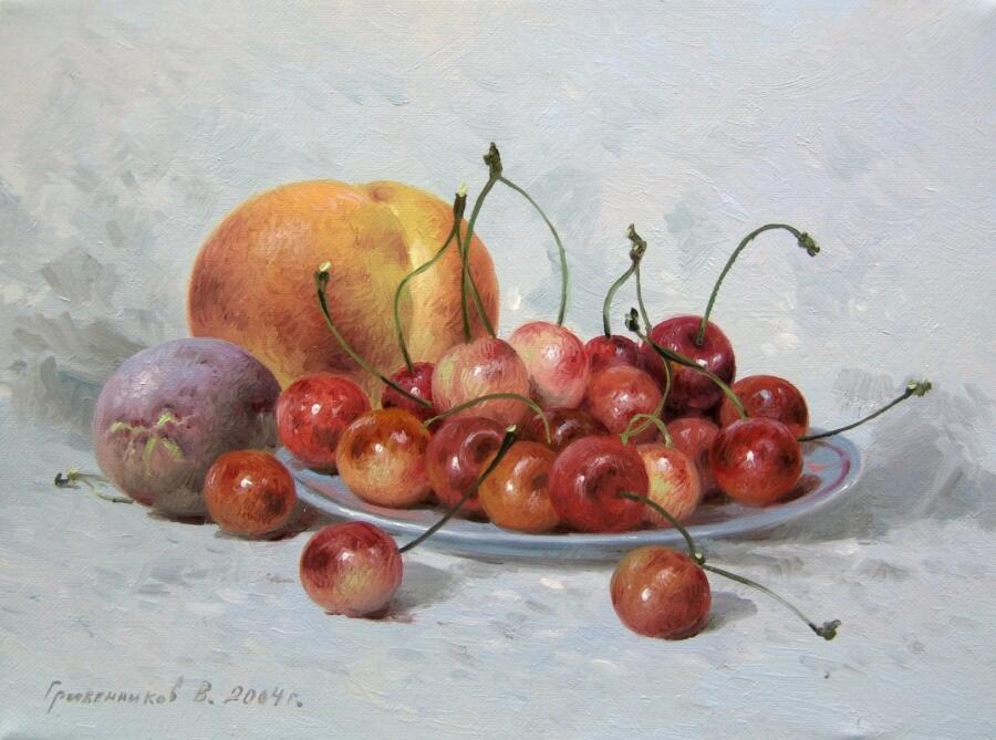 Василий Иванович Грибенников, «Натюрморт с черешней», 2004 г.