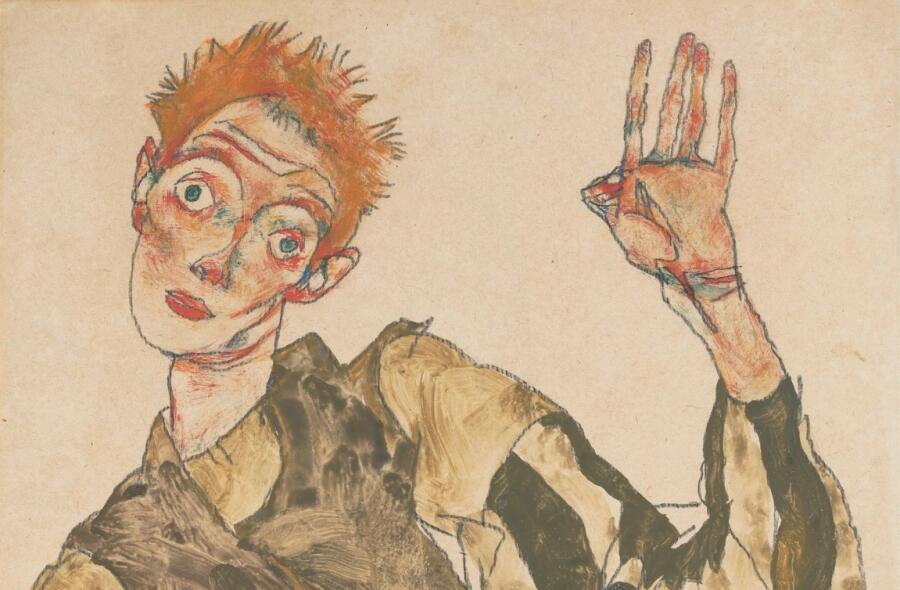 Эгон Шиле, «Автопортрет с полосатыми нарукавниками» (фрагмент), 1915 г.