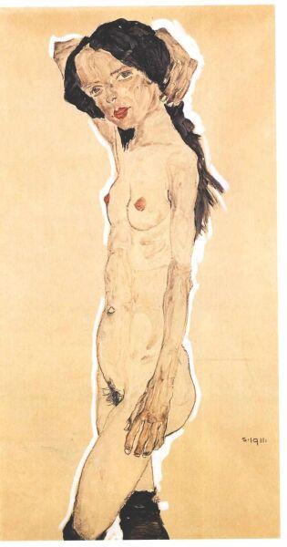 Эгон Шиле, «Стоящая обнаженная», 1911 г.