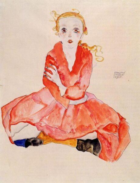 Эгон Шиле, «Девочка в красном платье», 1911 г.