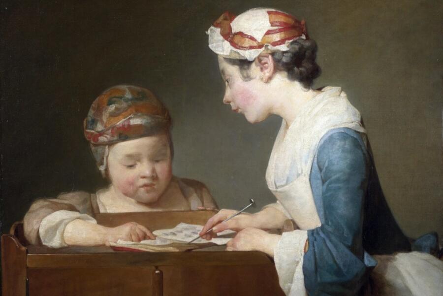 Жан Батист Симеон Шарден, «Молодая учительница» (фрагмент), 1740-е гг.