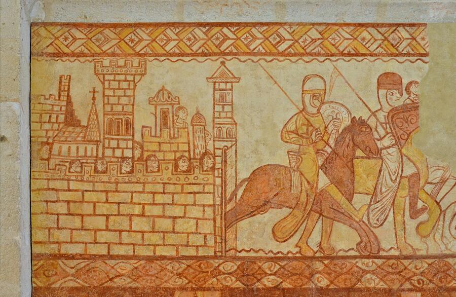 Рыцари-тамплиеры, возвращающиеся с битвы при Аль-Букайе (1163). Фреска из Часовни тамплиеров в Крессак-Сен-Жени (Пуату-Шаранта). XII в.