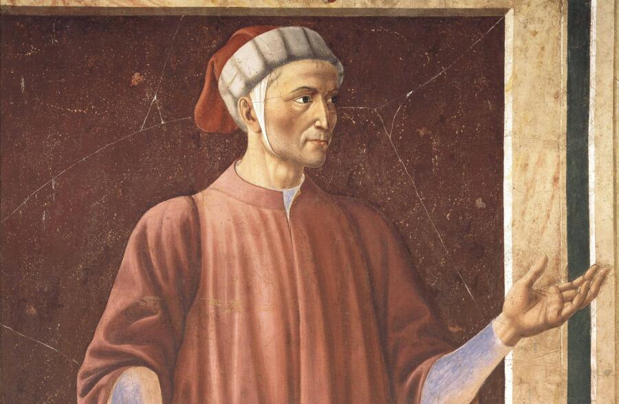 Данте на фреске виллы Кардуччо Андреа дель Кастаньо