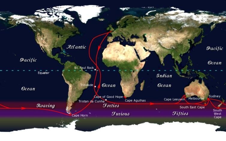 Маршрут парусных судов между Англией и Австралией (Новой Зеландией)