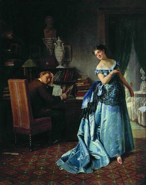 Ф. С. Журавлев, «Жена-модница (Сборы на бал)», 1872 г.