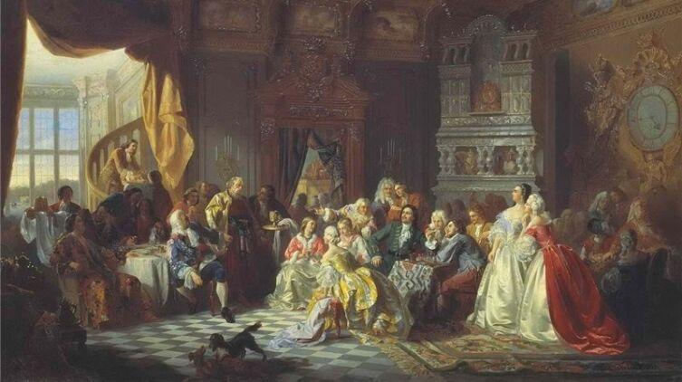 С. Хлебовский, «Ассамблея при Петре І», 1858 г.