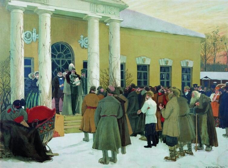 Б. М. Кустодиев, «Чтение манифеста (Освобождение крестьян). Для издания И.Н. Кнебеля