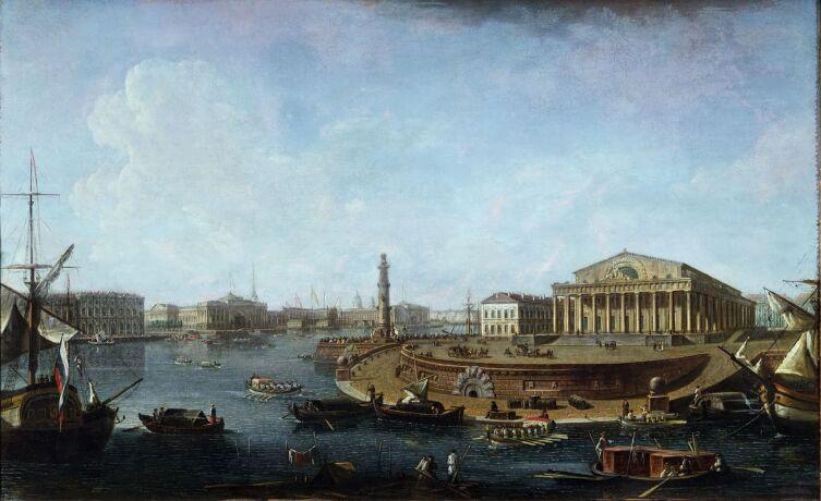 Ф. Я. Алексеев, «Вид на биржу и Адмиралтейство от Петропавловской крепости», 1810 г.
